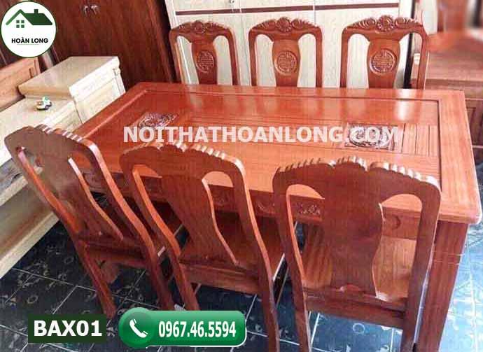 Bàn ăn chữ nhật 6 ghế kiểu xưa gỗ xoan đào BAX01