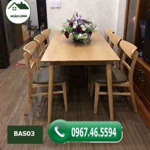 Bộ bàn ăn hình chữ nhật 6 ghế kiểu phương Tây gỗ sồi Nga BAS03