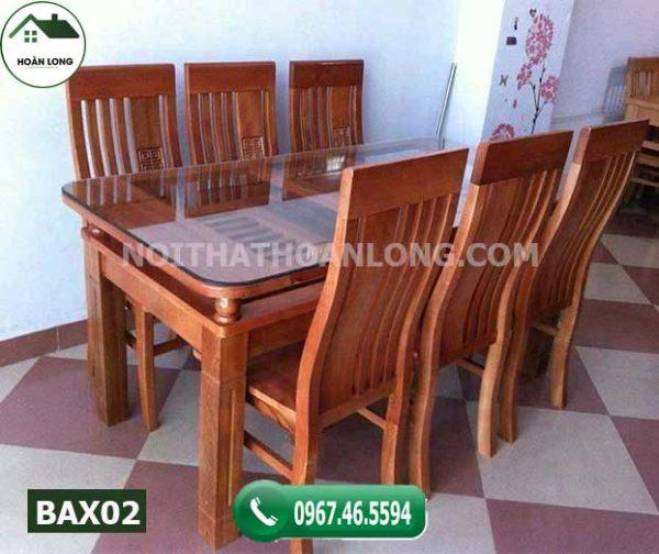 Bàn ăn hình chữ nhật 6 ghế gỗ xoan đào BAX02