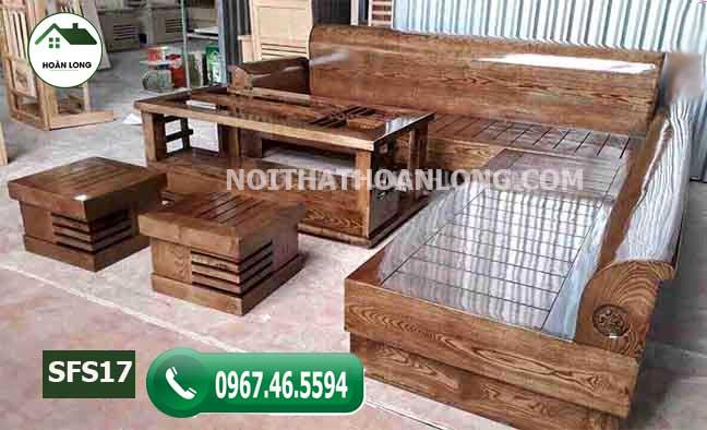 Bộ ghế sofa tựa cong gỗ sồi Nga SFS17