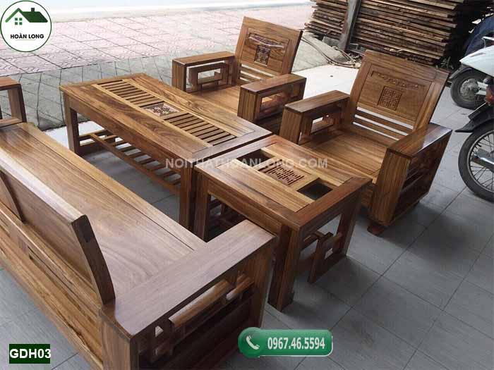 Bộ ghế đối tay 14 gỗ hương xám GDH03