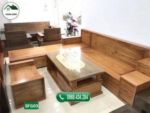 ghế sofa gỗ gõ SFG03 đẹp