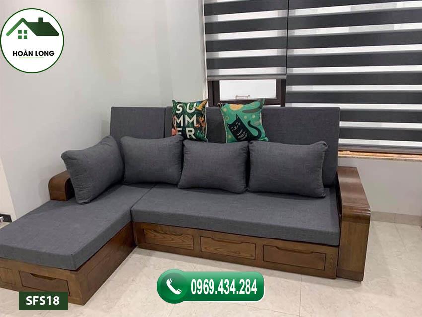 sofa giường gỗ sồi Nga SFS18 mở rộng