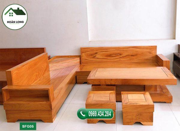 sofa góc lọ hoa gỗ gõ đỏ SFG05