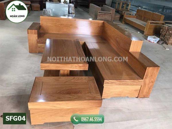 Bộ ghế sofa hộp gỗ gõ đỏ SFG04