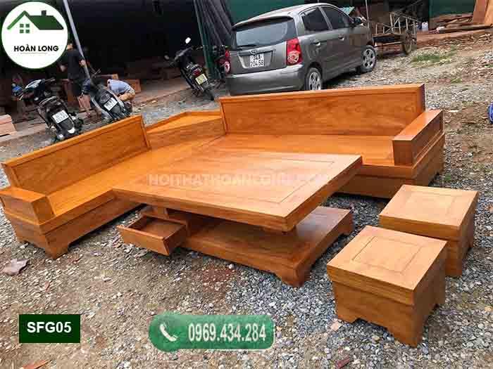 Bộ ghế sofa góc để lọ hoa gỗ gõ đỏ SFG05