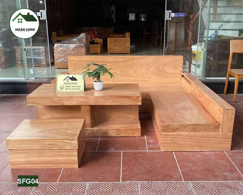 Bộ ghế sofa hộp giả nguyên khối gỗ gõ đỏ SFG04
