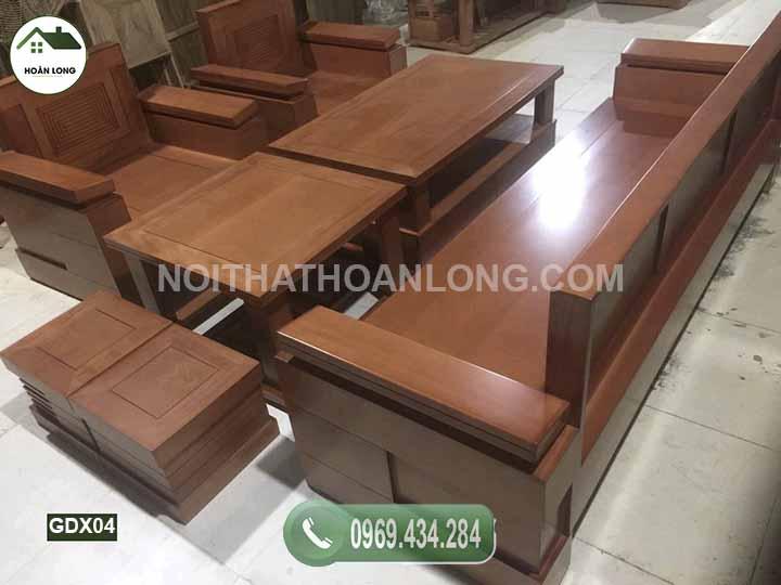 Bộ ghế đối tay trứng nghiêng gỗ xoan đào GDX04