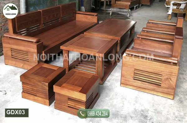 Bộ ghế đối tay trứng tựa liền gỗ xoan đào GDX03