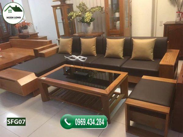 Bộ ghế sofa ngăn kéo vát gỗ gõ SFG07 chắc chắn sẽ mang lại hương vị thiên nhiên tươi đẹp cho gian phòng khách nhà bạn.