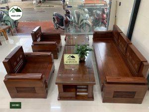 Bộ ghế đối tay trứng mặt liền gỗ xoan đào GDX03