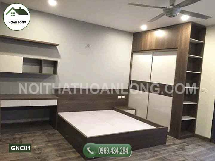 giường gỗ công nghiệp sơn trắng GNC01