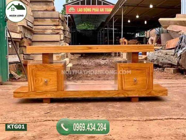 Kệ tivi phòng khách đơn giản gỗ gõ đỏ KTG01