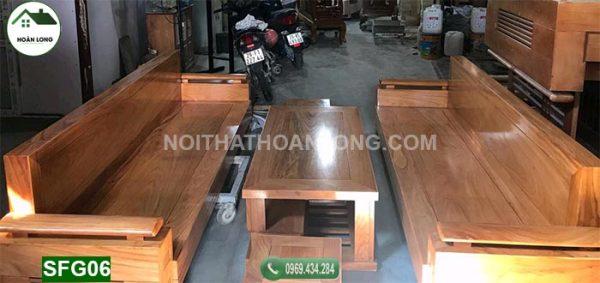 Bộ ghế sofa 2 văng gỗ gõ đỏ SFG06