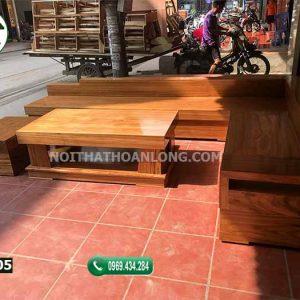 Bộ ghế sofa hộp giả nguyên khối gỗ hương xám SFH05