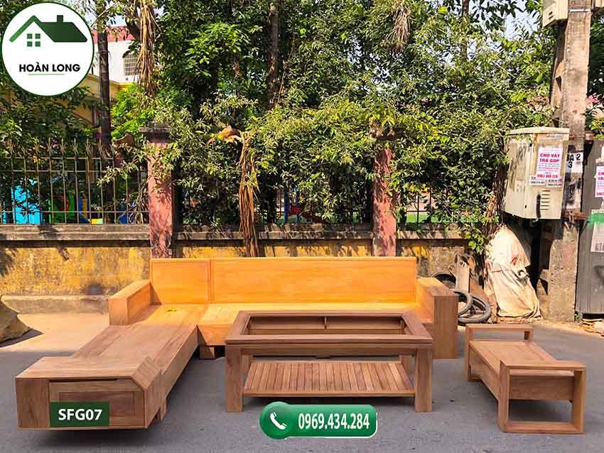 Bộ ghế sofa ngăn kéo vát gỗ gõ SFG07