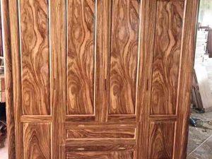 Tủ đựng quần áo 4 cánh nhiều ngăn gỗ hương xám TGH02