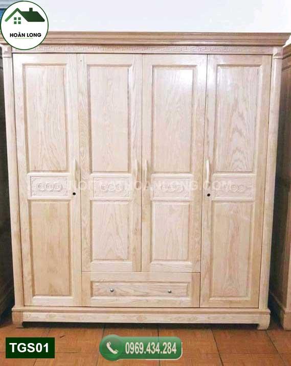 Tủ quần áo 4 cánh nhiều ngăn kéo gỗ sồi Nga TGS01