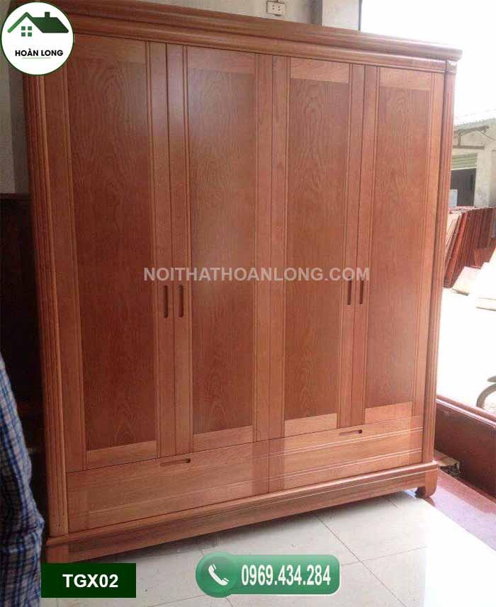 Tủ đựng quần áo 4 cánh gỗ xoan đào TGX02