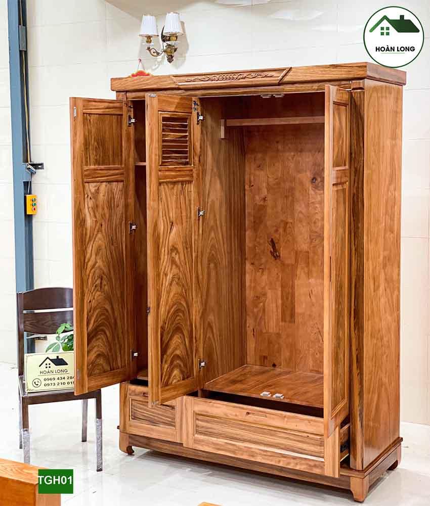 Tủ đựng quần áo 3 cánh nhiều ngăn gỗ hương xám TGH01