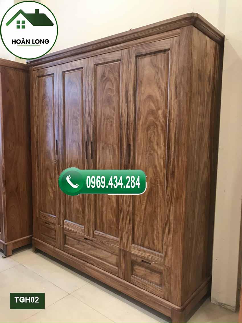 Tủ đựng quần áo 4 cánh 3 buồng gỗ hương xám TGH02