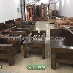 Bộ ghế đối tay vuông gỗ sồi Nga GDS11