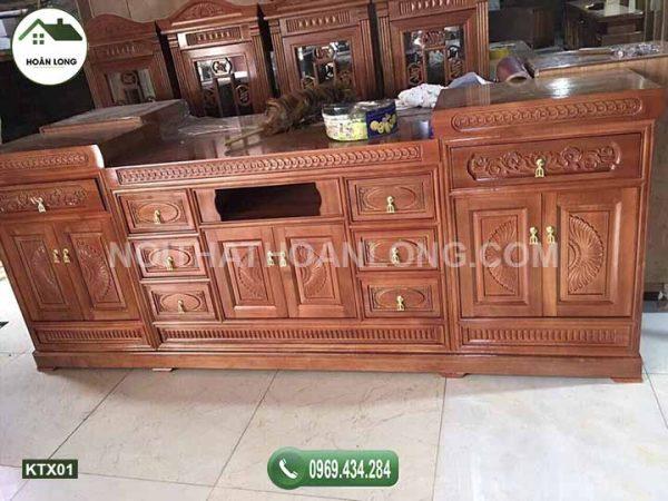 Kệ tivi phòng khách gỗ xoan đào KTX01