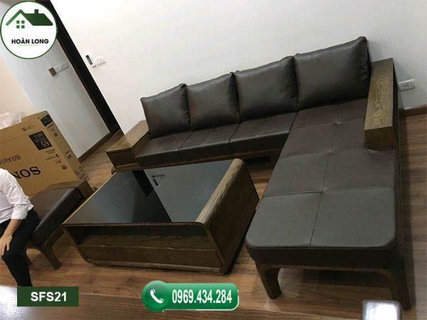 Sofa chân hươu bàn cong gỗ sồi Nga SFS21
