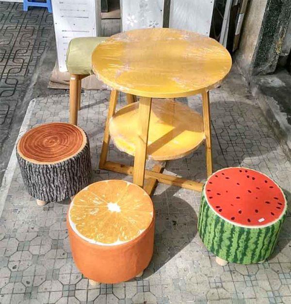 Đôn gỗ hình hoa quả 3 chân