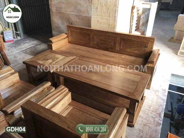 Bộ ghế đối tay nghiêng gỗ hương xám GDH04