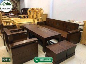 Bộ ghế đối tay trứng tựa và mặt liền gỗ sồi Nga GDS13