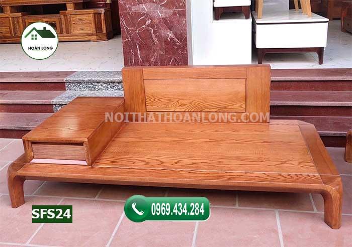 Sofa 2 văng chân cong gỗ sồi Nga SFS24