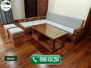 Bộ ghế sofa góc lá me gỗ sồi SFS23