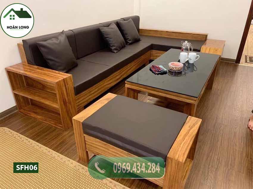 Bộ ghế sofa ngăn kéo vát gỗ hương xám SFH06