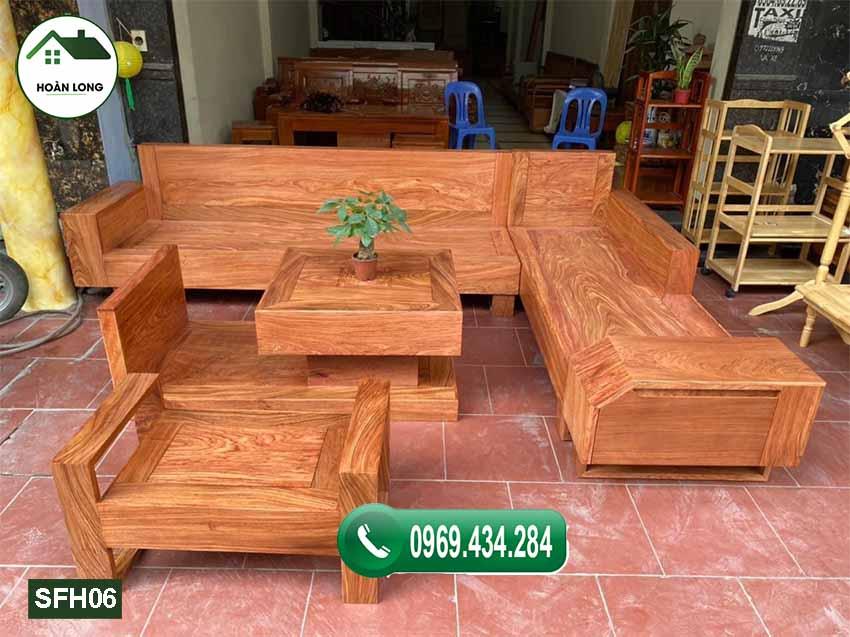 sofa ngăn kéo vát gỗ hương xám đá SFH06