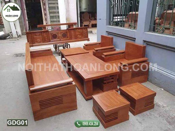 Bộ ghế đối tay trứng gỗ gõ đỏ GDG01