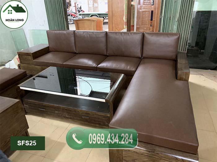 Bộ ghế sofa chân bàn cong cao cấp gỗ sồi Nga SFS25