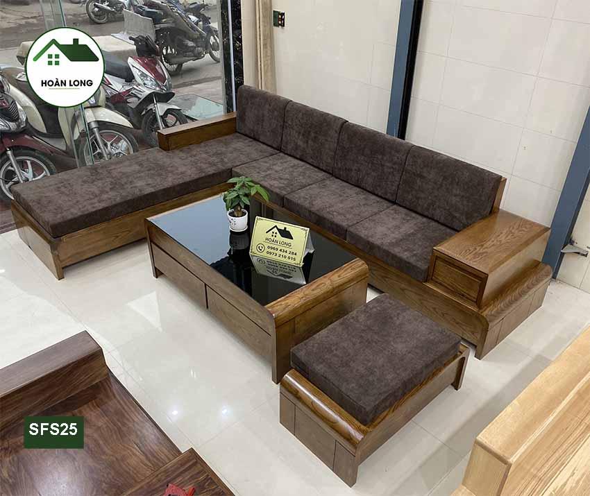 Bộ ghế sofa chân cuốn gỗ sồi Nga SFS25