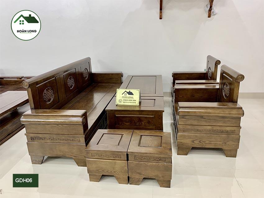 Bộ ghế đối tay pháo gỗ hương xám GDH06