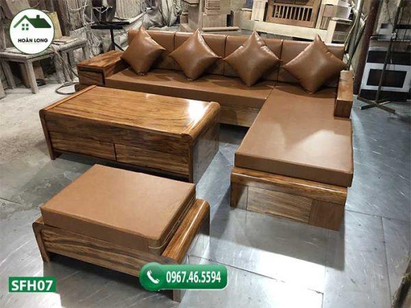 Bộ ghế sofa chân cuốn gỗ hương xám SFH07