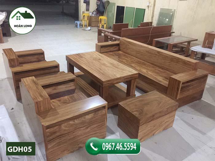 Bộ ghế đối tay vuông gỗ hương xám GDH05