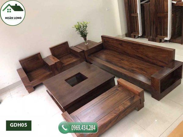 Bộ ghế đối hộp tay vuông gỗ hương xám GDH05