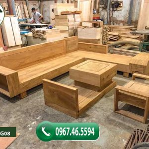 Bộ ghế sofa 2 tay gỗ gõ đỏ SFG08