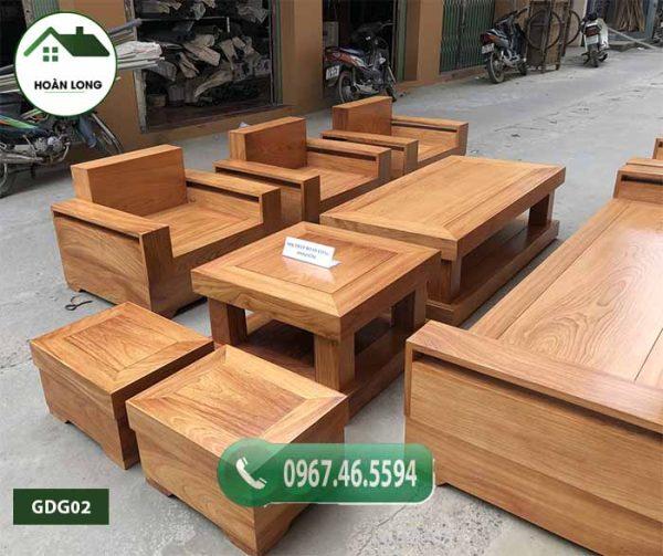 Bộ bàn ghế đối tay vuông 9 món gỗ gõ đỏ Pachy cao cấp GDG02