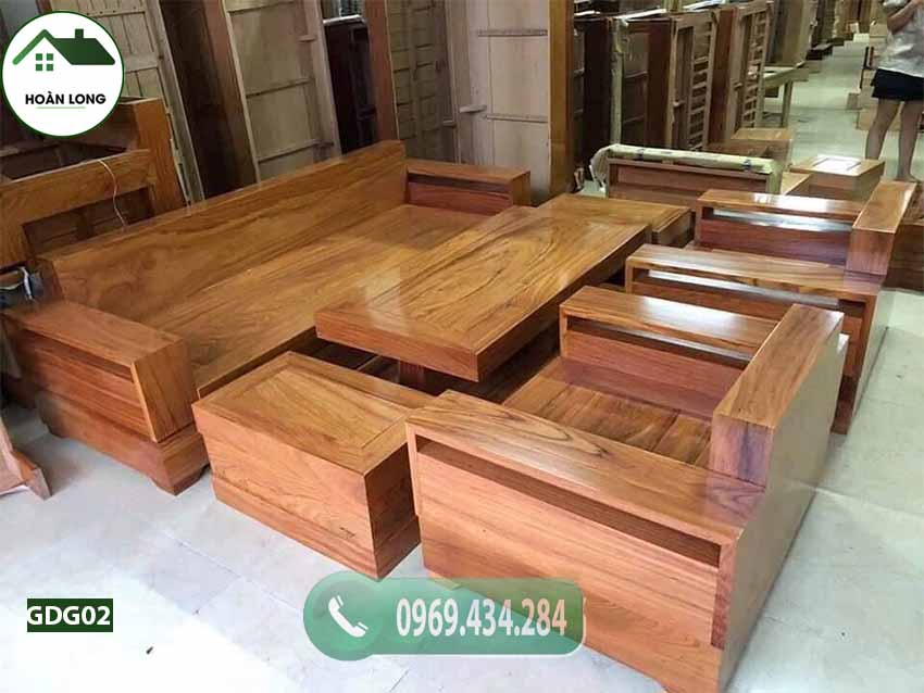 Bộ bàn ghế đối tay vuông gỗ gõ đỏ Pachy cao cấp GDG02