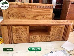Kệ tivi phòng khách kiểu bầu dục gỗ hương xám KTH01