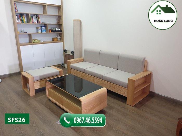 Combo ghế sofa kèm bàn gỗ sồi Nga SFS26