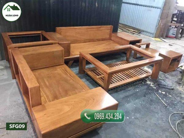 Bộ ghế sofa 2 văng chân oải gỗ gõ đỏ SFG09