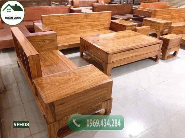 Bộ ghế sofa 2 văng chân quỳ chữ U gỗ hương xám SFH08