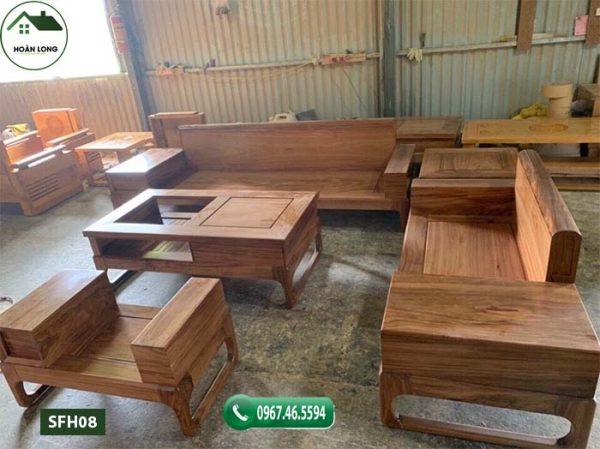 Bộ ghế sofa 2 văng chân vuông chữ U gỗ hương xám SFH08